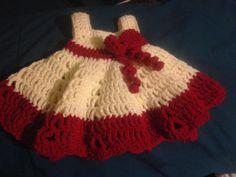New born baby girl dress with bow - Crochet creation by Lynn46