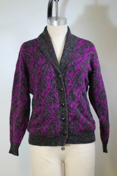 Vintage Purple Cardigan 80s Sweater Sparkle by MomandPopShoppe