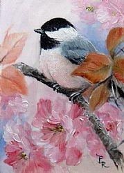 Art: Plum Blossoms by Artist Paulie Rollins Watercolor Bird, Watercolor Animals, Bird Illustration, Bird Drawings, Bird Pictures, Art Portfolio, Bird Art, Beautiful Birds, Painting & Drawing