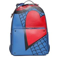 VALENTINO GARAVANI 'Spiderman' leather backpack ($2,690) ❤ liked on Polyvore featuring bags, backpacks, leather bags, real leather bag, leather daypack, knapsack bags and day pack backpack
