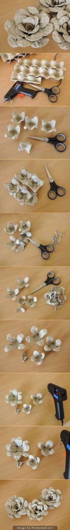 The whole detailed photo tutorial on how to make these egg carton flowers - Tutorial foto: trandafiri din cofraje de ou | Atelierul Grdina cu fluturi: