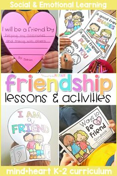 Teach friendship skills in the classroom to help kids develop strong relationship skills. Lessons and activity ideas include teaching children to share, take turns, listen, be a good friend, and show teamwork and cooperation. Friendship Theme Preschool, Teaching Friendship, Friendship Lessons, Friendship For Kids, Friendship Crafts, Happy Friendship, Social Skills Activities, Kindergarten Activities, Preschool Science