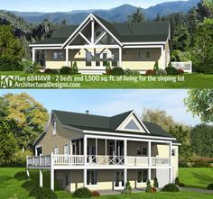 Architectural Designs House Plan 68414VR Gives You A Front Porch, A Rear  Porch, A. Unfinished BasementsDeck PlansGround ...