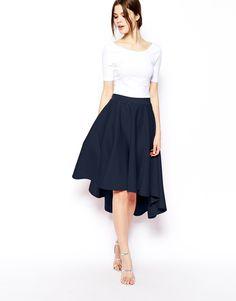 Enlarge ASOS Scuba Midi Skirt With Dipped Hem