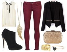 burgundy jeans outfit ideas - Google Search