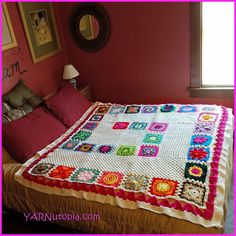 365 Days of Granny Squares with Nadia Fuad Craft Patterns, Cool Patterns, Crochet Patterns, Crochet Squares, Crochet Granny, Granny Squares, Granny Square Projects, Crochet Bedspread, Crochet Blankets