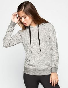 Full Tilt Womens Essential Marled Hoodie Grey  In Sizes