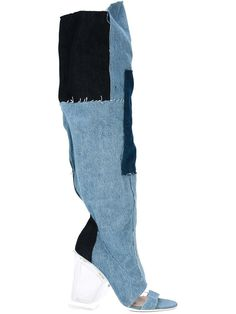 Off-White tall denim boots