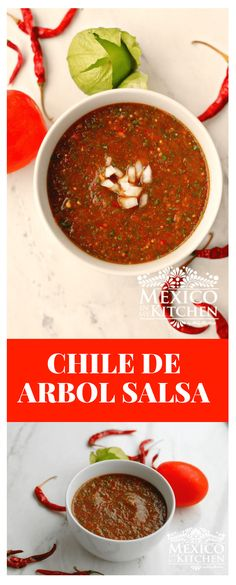 How to make Chile de Arbol Salsa This Chile de Arbol Salsa roja can be used for tacos (especially the carne asada tacos) over fried or scrambled eggs and in many of our Mexican dishes. I know you will love this version! How to make Chile de Authentic Mexican Recipes, Mexican Salsa Recipes, Mexican Dishes, Carne Asada, Vegetarian Recipes, Cooking Recipes, Healthy Recipes, Asada Tacos, Hot Salsa