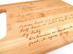Handwritten Engraved Cutting board by memoriesforlifesb, $5.00