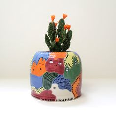 Colourful Ghosts - Ceramic Pot - one of a kind