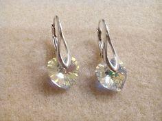 HANDMADE Kira Beatrize: 103. Kolczyki srebrne liście heart crystal ab mini...