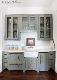Ashley Gilbreath Interiors | Old Cloverdale House | Green Cypress Cabinets | Butlers Pantry | Marble Countertop