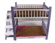 Wooden-Pet-Dog-Cat-Double-Deck-Bunk-Bed-Hut-Cage-Kennel-Doghouse-with-Stairs-NEW