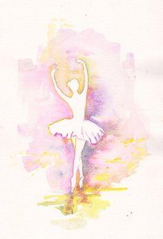 Ballet art illustration girl room kids ballerina wall art decor ballet dress dance original watercolor painting 8x11 via Etsy