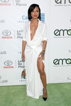 Karrueche Tran's EMA Awards Meshki Boutique Calandra Maxi Shirt Dress   I'm beginning to really dig Karrueche Tran's style.  She's always had cool style but I'm loving her look here at the EMAs.  This deep cut dress and thigh high split is everything..  black bloggers black celebrities black fashion black fashion news black girl magic celebrities fashion advice Karrueche tran petite fashion style
