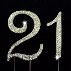 21st Birthday / Wedding Anniversary Number Cake Topper with Sparkling Rhinestone Crystals - 2.75 >> Stop everything and read more details here! : baking decorations