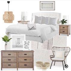 Neutral bedroom | black and white | coastal farmhouse