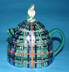"Crinoline Lady, James Sadler designer, 20th century - Sadler's early Crinoline Lady known as ""Ye daintee ladyee"" in the very rare tartan-design of this well known teapot."