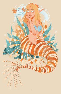 "ramaoart: "" Lion Fish Venus 💛 I'm really enjoying this Sailor Mermaid series! Up next is Mars 😊 "" Anime Mermaid, Mermaid Fairy, Sailor Uranus, Sailor Moon Art, Character Art, Character Design, Myths & Monsters, Mermaid Illustration, Animation Sketches"