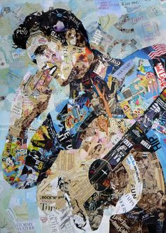 """All Shook Up"" - collage by Ines Kouidis, via Saatchi Art;  a collage of Elvis Presley made of original magazine scraps on canvas"