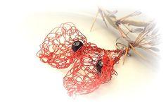 Red black earrings of copper. Copper earrings. by Copperandcolors