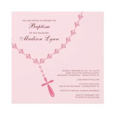 Pink Rosary Bead Baby Girl Baptism Inviation Custom Invites from http://www.zazzle.com/first+communion+invitations