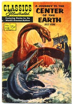 A Journey to the Center of the Earth is a classic 1864 science fiction novel by Jules Verne. The story involves a German Professor Lidenbrock who believes there are volcanic tubes going toward the… read more at Kobo. Jules Verne, Vintage Comic Books, Vintage Comics, Comic Books Art, Vintage Library, Science Fiction, Pulp Fiction, Fiction Books, Graphic Novel