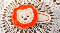 felt lion barrette