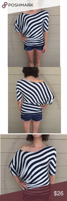 """Green/ white striped top Length- approx 30"""" (longer on the side) Materials- 95% rayon/ 5% spandex. This is a lightweight top that can easily be dressed up or dressed down. The stripes are Hunter Green. Model is a S/4 and wearing a size S.  Availability- S • 1                                                                ⭐️This item is brand new from manufacturer without tags.  🚫NO TRADES 💲Price is firm unless bundled 💰Ask about bundle discounts Tops"""
