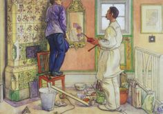 """Carl Larsson, """"My Friends, the Carpenter and the Painter"""""""
