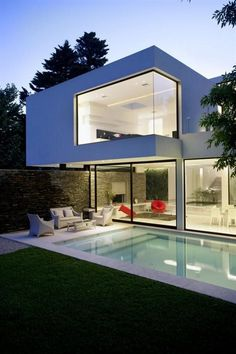 Elegant exterior for large spaces with swimming pool - Interior Exterior Plan