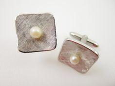 Cultured Pearl Sterling Cufflinks Wedding Cuff by LadyandLibrarian #ladyandlibrarian