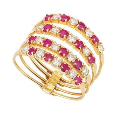 14k Yellow Gold Ruby and Zircon Harem Ring - Harem Jewelry,Ottoman Jewelry #Dimenticare #Band
