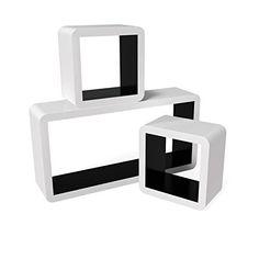 Songmics Lot de 3 Étagères murales Lounge Cube pour CD livres blanc-noir LWS92B: Matériaux écologiques - Le produit est fabriqué en MDF qui…
