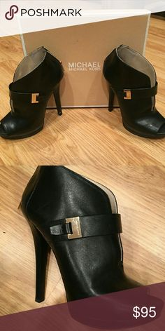 Michael Kors Peep Toe Bootie Black leather 4 inch peep toe Bootie by MICHAEL Michael Kors. Only worn a handful of times, great condition. MICHAEL Michael Kors Shoes Ankle Boots & Booties