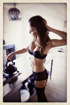 Sexy cooking in lingerie theme, interesting