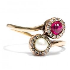 Um 1900: TOI et MOI Ring: Rubin, Perle & Diamanten in 585 Gold Verlobungsring