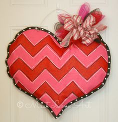 Chevron Heart Valentine's Burlap Door Hanger by MustLoveArtStudio, $35.00