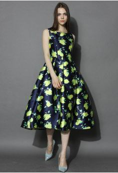 Chic Lemons Prom Dress in Navy - sale - Retro, Indie and Unique Fashion