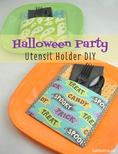Halloween Party Idea - Utensil Holders Craft  | Tween Craft Ideas for Mom and Daughter