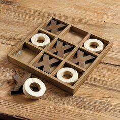 Tic Tac Toe Game Tick-tack-toe Board from Ballard Designs. Might be able to DIY this board. Perfect to have out in a living area to promote interaction and keep people off their devices. Woodworking For Kids, Easy Woodworking Projects, Popular Woodworking, Woodworking Jigs, Woodworking Furniture, Wood Furniture, Woodworking Classes, Woodworking Magazine, Woodworking Techniques