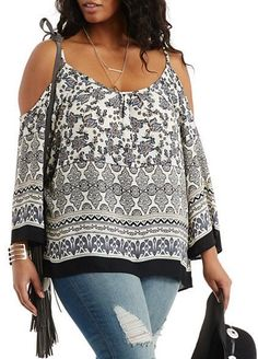 Plus Size Cold Shoulder Top #plus #size