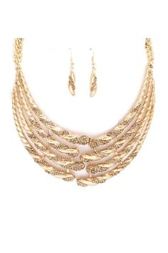 Gold Statement Necklace with Matching Earrings.