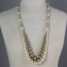 Tri-tone Pearl Necklace - Elegant Sophistication for under $25