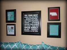 """Family Gallery Wall (family rules & tree, 1 Corinthians 13, birth dates and custom state print) - one 16""""x20"""" poster and four 8""""x10"""" prints. $70.00, via Etsy."""