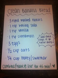 "Shout out to Natalie Davis for the awesome ""clean"" banana bread recipe ❤️🙌 FULL RECIPE HERE Snack Cake Recipe snack cake recipe banana sn. Clean Banana Bread, Banana Bread Recipes, Banana Bread Healthy Clean Eating, Sugar Free Banana Bread, Banana Nut, Clean Banana Muffins, Diabetic Banana Bread, Banana Flip, Skinny Banana Bread"