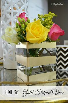 Good idea for a hostess gift--take one of the hundreds of florist's vases you have on your kitchen shelves and stripe it with gold spray paint--jazzes up the standard flowers you were going to give as a gift! :)