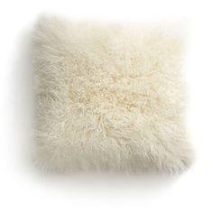 "Crate & Barrel Pelliccia 23"" Mongolian Lamb Fur Pillow with Feather-Down Insert"