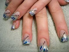 blue,white,silver tips with black dot accents